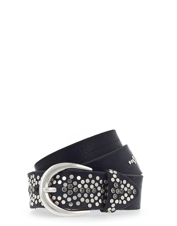 Black Vintage Leather Studded Belt