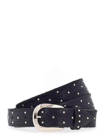 Black Leather Star Stud Belt