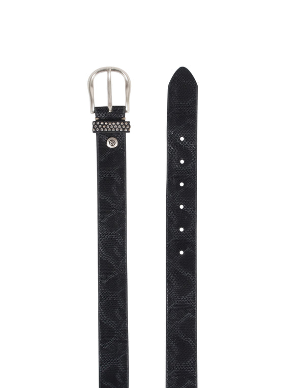 Black Python Embossed Leather Belt