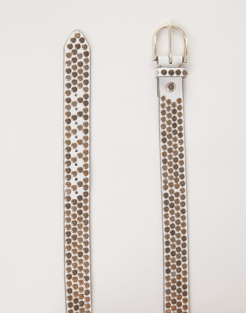 Studded Off White Leather Liv Belt