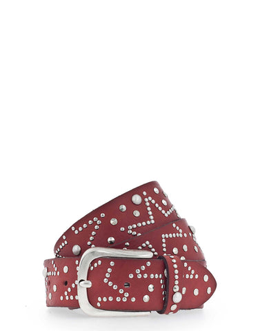 Red Leather Star & Studs Belt