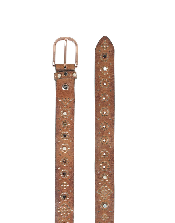 Cognac Brown Leather Studded Swarovski Belt