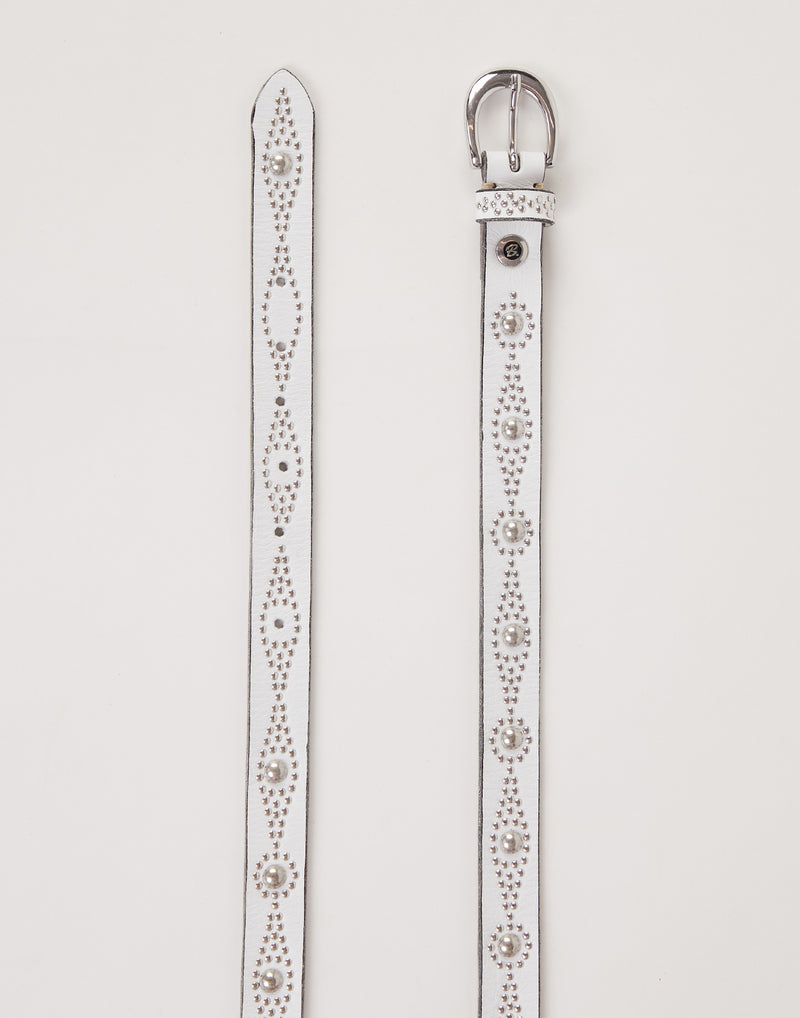 Slim Off White Studded Svana Belt