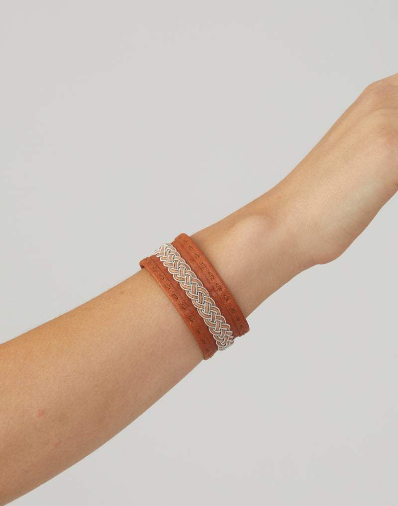 BC-H46 Tan Leather & Pewter Embroidered Bracelet