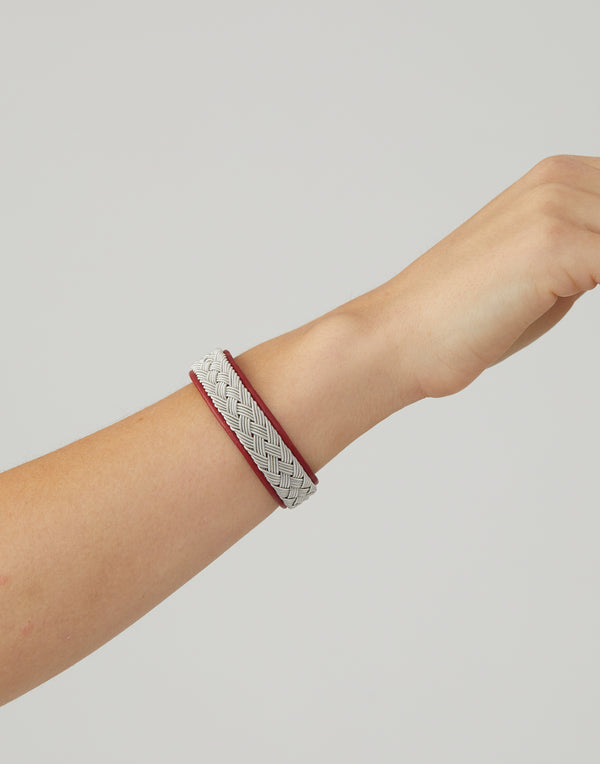 BC09 Red Leather & Pewter Embroidered Bracelet