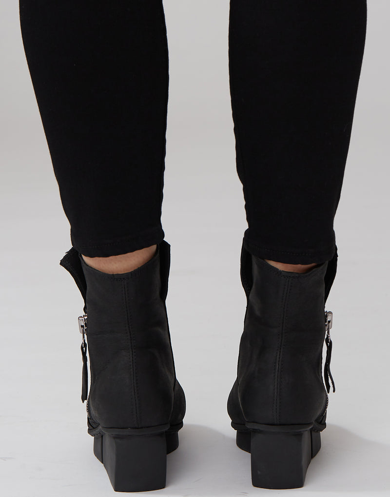 Blaze Black Side-Zip Leather Boots