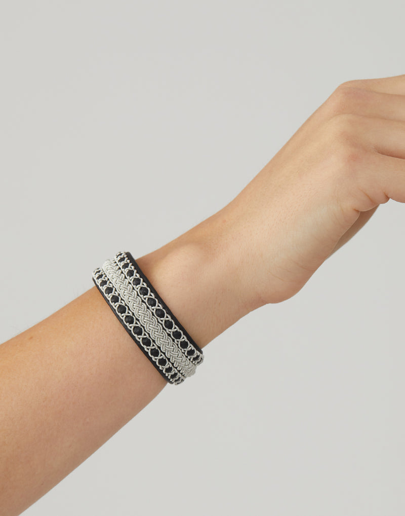 C12 Black Leather & Pewter Embroidered Bracelet