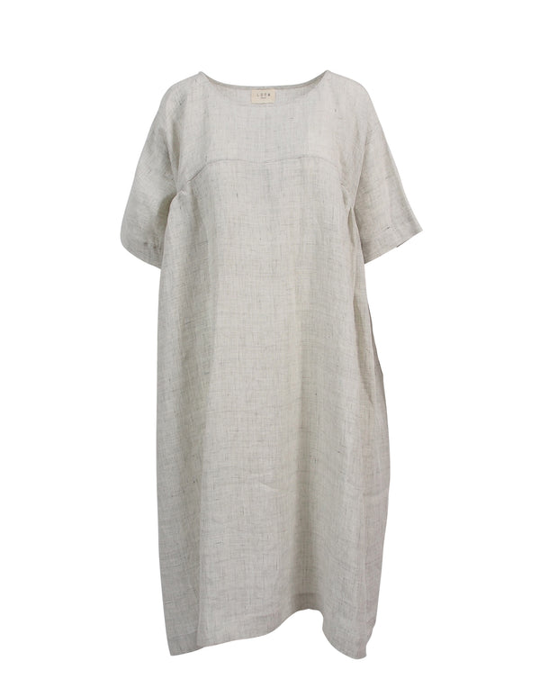 Pale Grey Loose Linen Dress