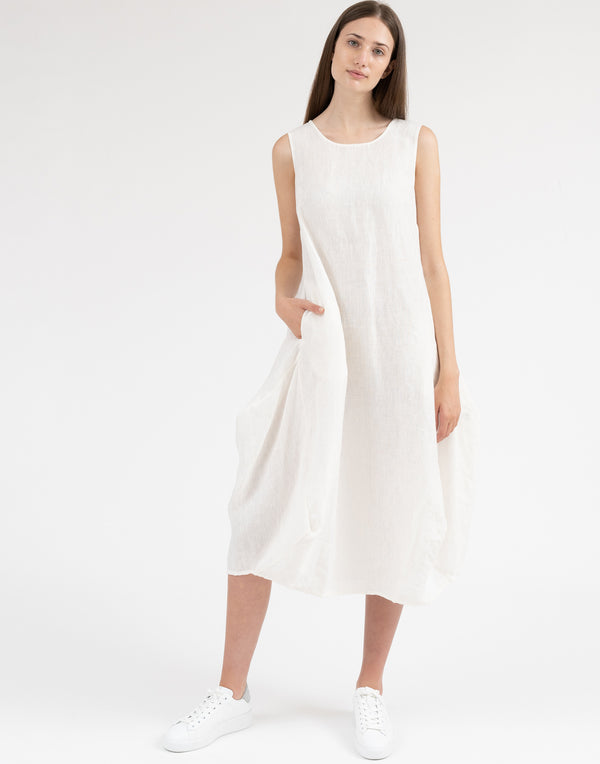 Ivory Linen Sleeveless Dress