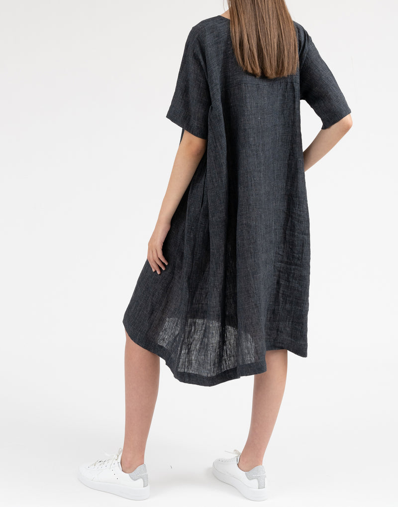Charcoal Grey Loose Linen Dress