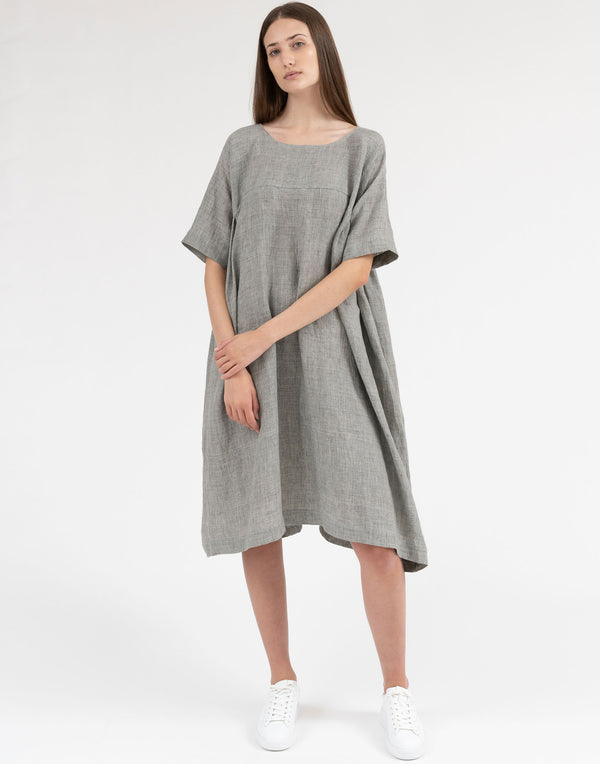 Mid Grey Loose Linen Dress