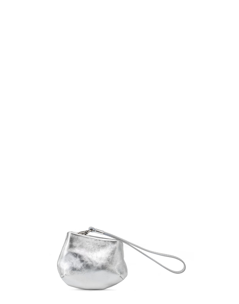 Metallic Silver Leather Mini Fanta Bag