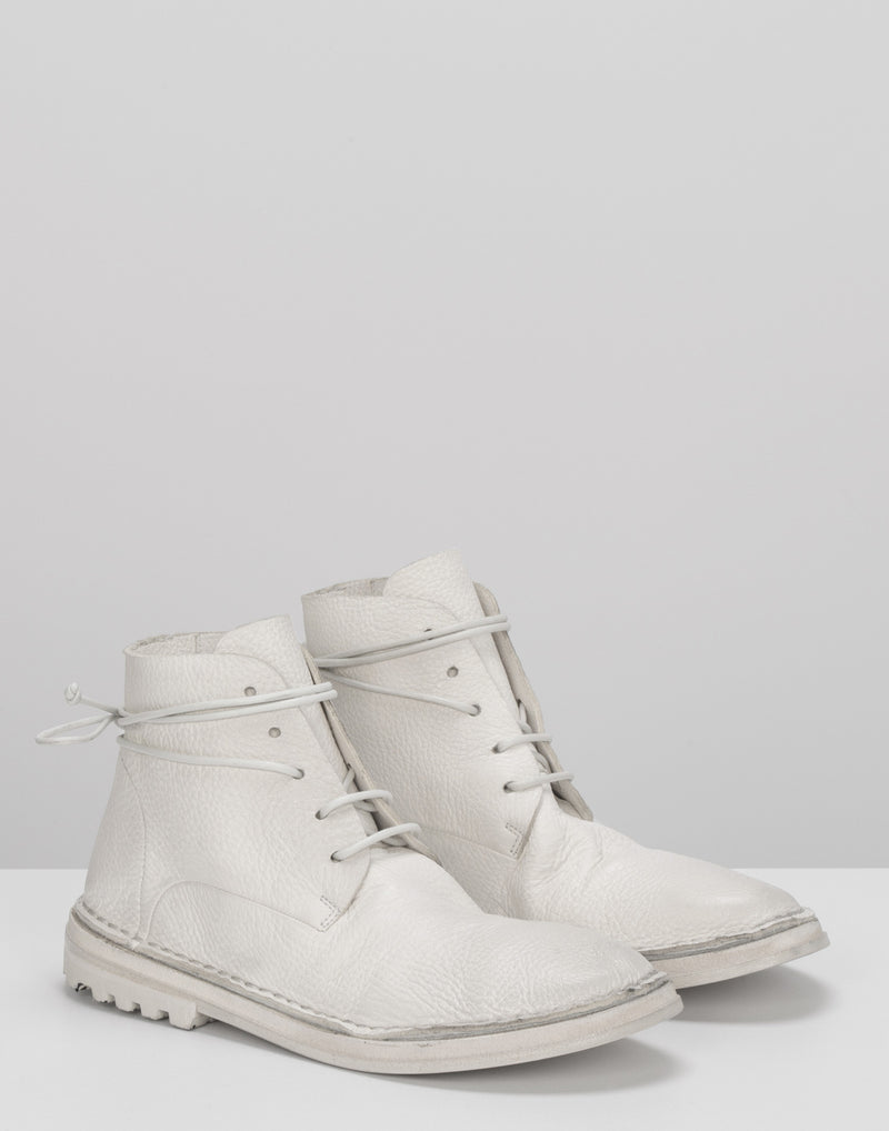 White Leather Fungaccio Lace Up Ankle Boots