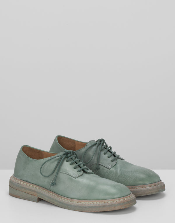 Mint Green Leather Nasello Derby Lace-Ups
