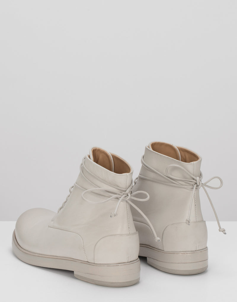 White Leather Zucca Lace Up Ankle Boots