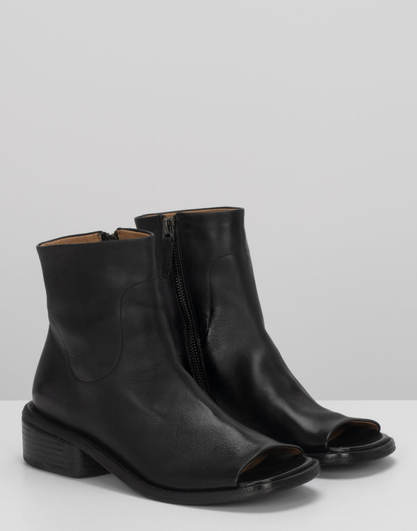 Black Leather Spuntello Open Ankle Boots