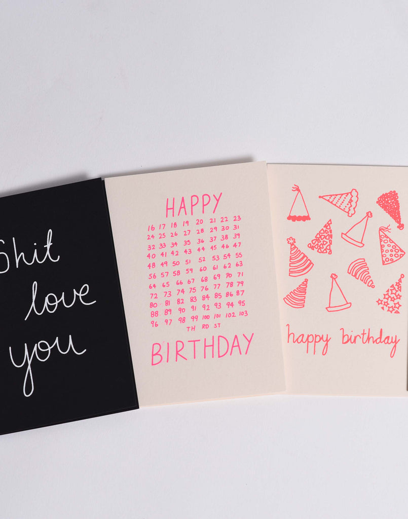 Blush Pink & Neon Pink 'Party Hats' Card