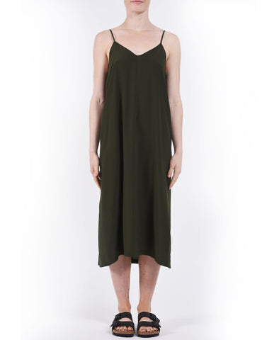 Forest Green Voz Shoulder Tie Silk Dress