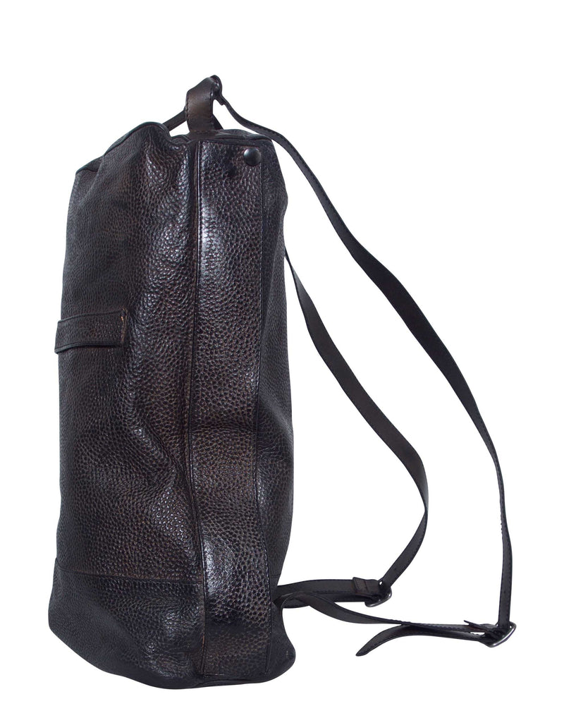 Black Hamptons Leather Backpack
