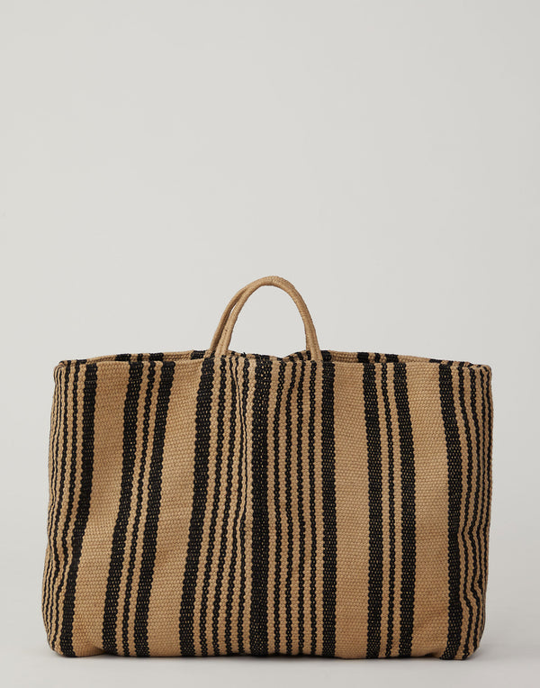 Black & Ecru Striped Jute Poresh Shopper Bag