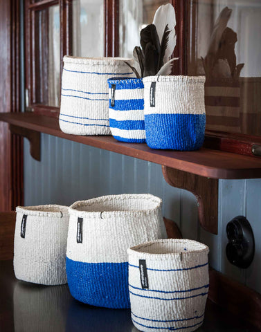 Small Blue & White Halves Kiondo Basket
