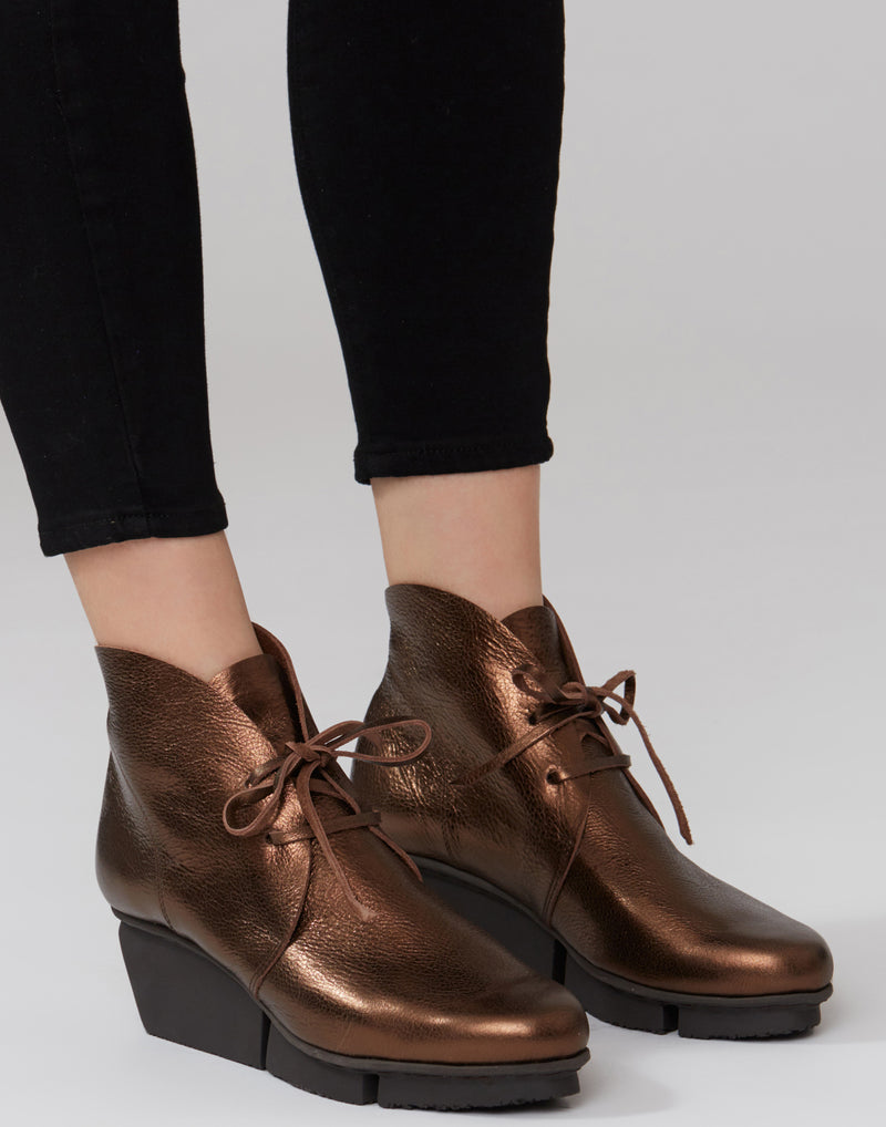 Metallic Brown Facile Leather Lace Up Boots