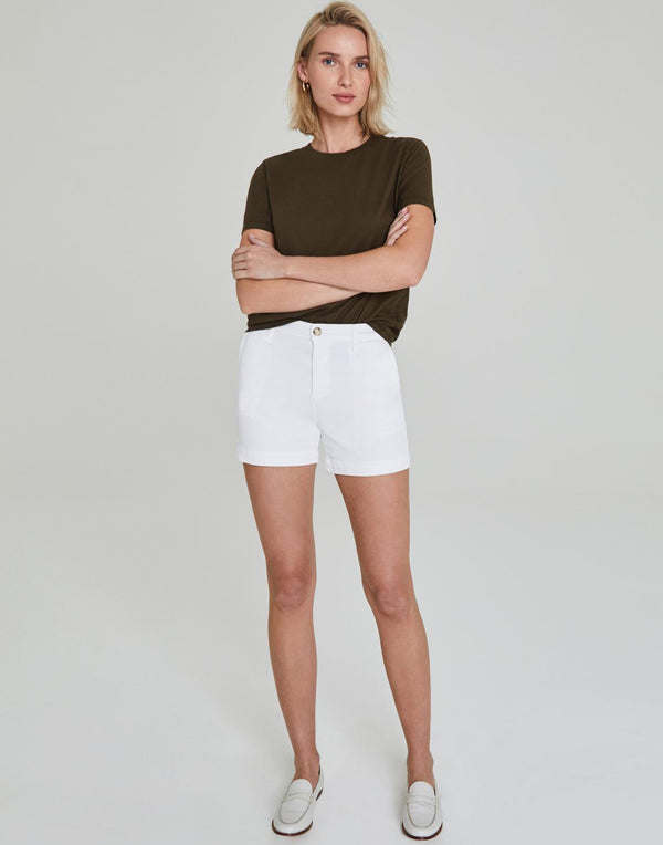 White Caden Stretch Cotton Shorts
