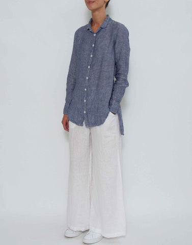 Blue Chambray Carine Linen Shirt