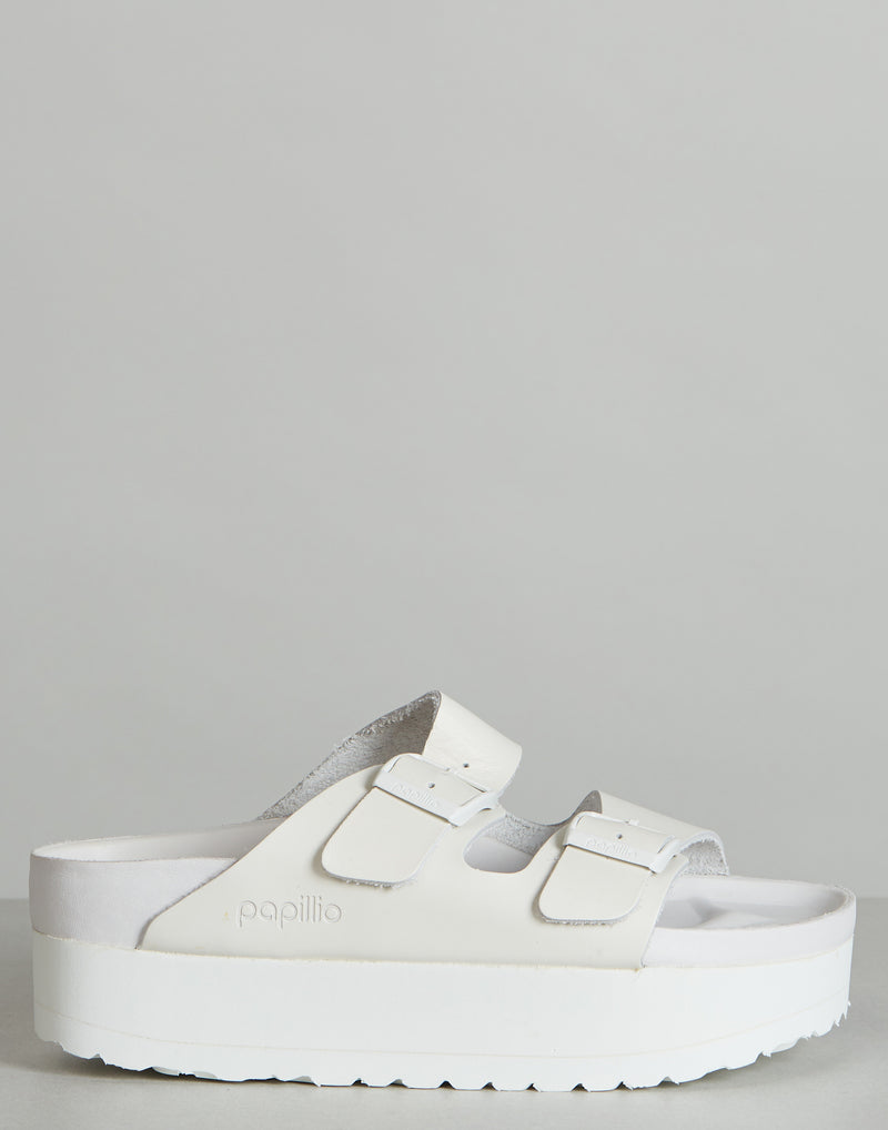 White Arizona Exquisite Leather Platform Sandals