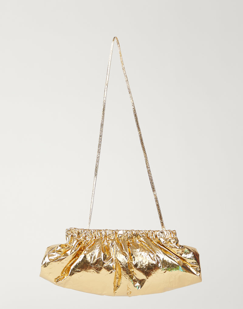 Long Metallic Gold Crinkled-Leather Pillow Bag
