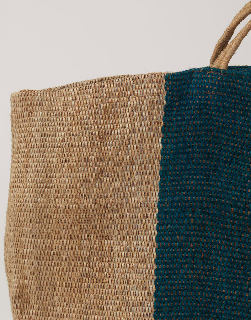 Large Green Stripe Jute Poresh Shopper Bag