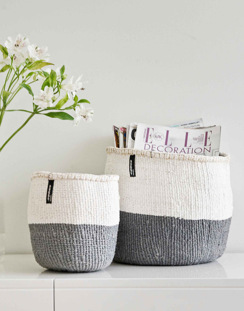 Large Grey & White Halves Kiondo Basket