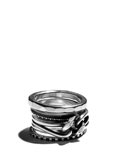 Silver Mixed Combination Rings Set of 5 Ring