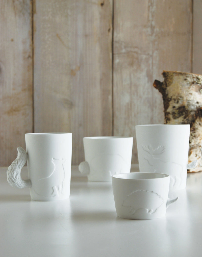 White Porcelain Fox Mugtail Cup