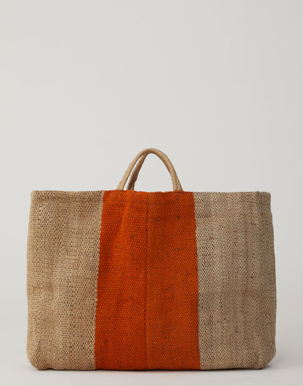 Large Orange Stripe Jute Poresh Shopper Bag