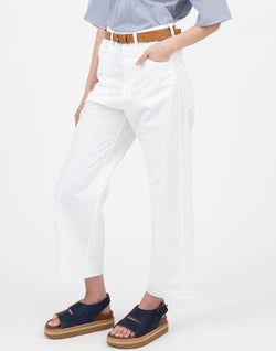 White Cotton Poet Wide Leg Trousers