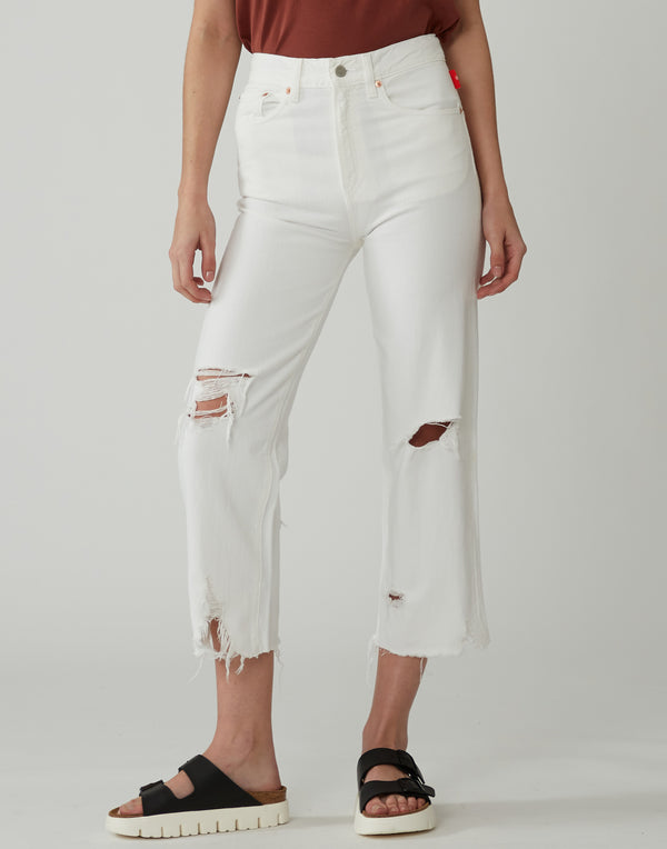 White Destroyed High-Rise Pierce Jeans