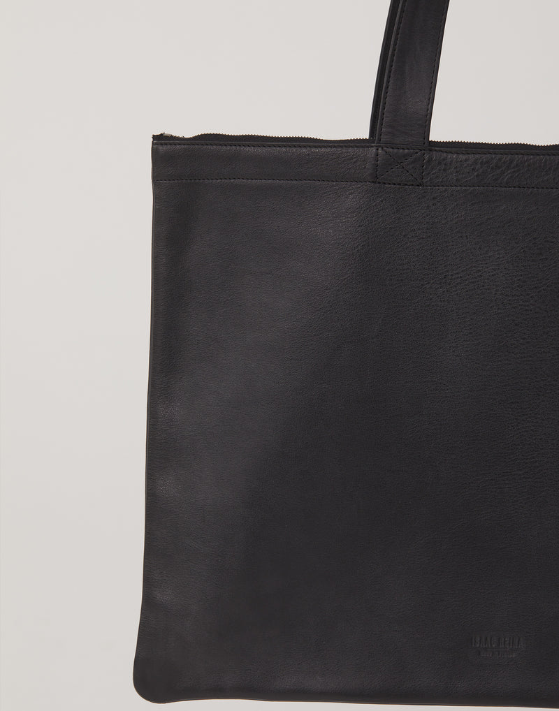 № 999 Black Leather Horizontal Double Tote