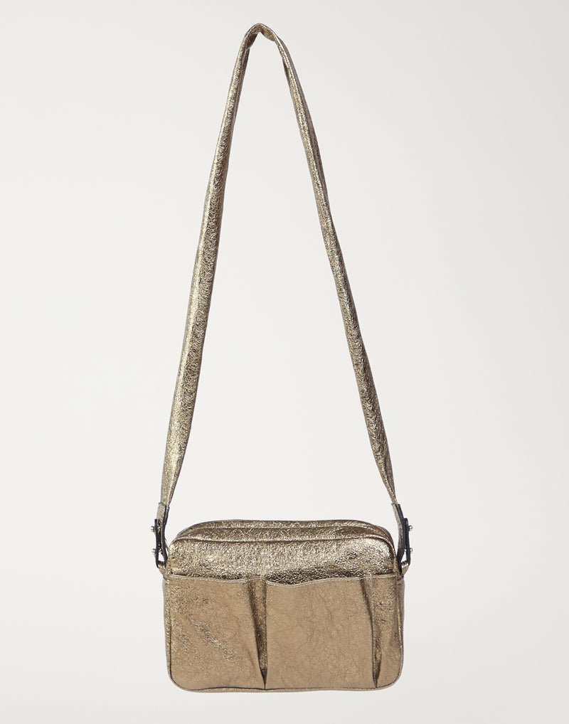 Bronze Laminated Leather Cross Body Bag
