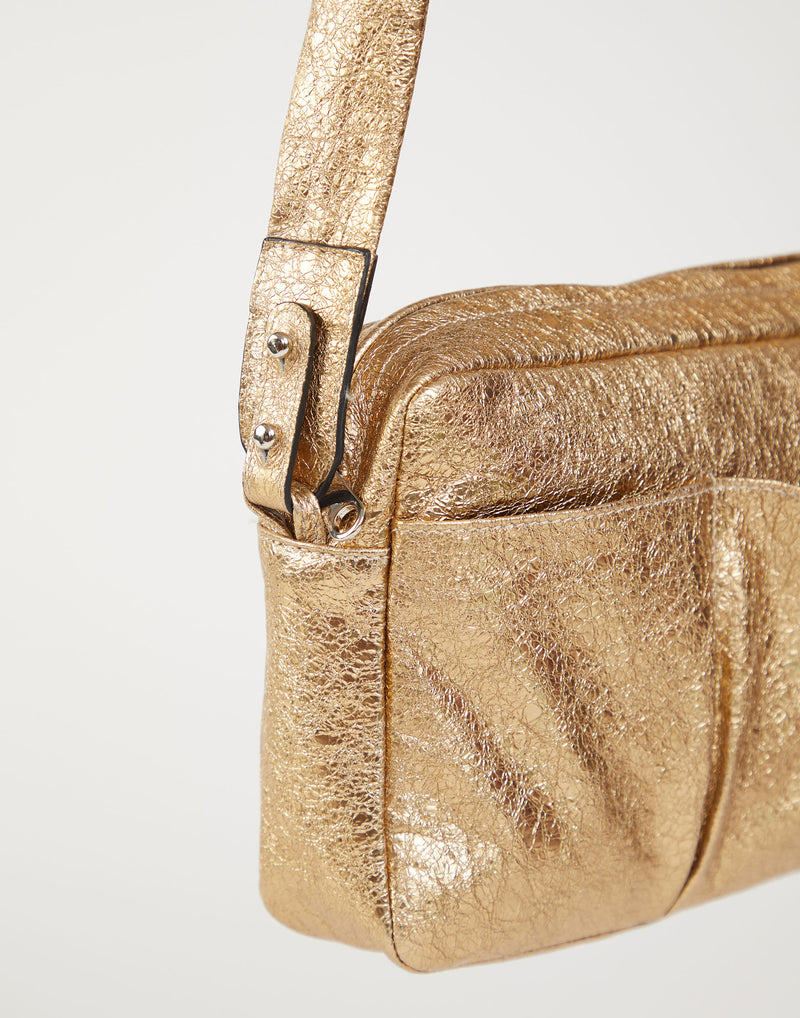 Gold Laminated Leather Cross Body Bag