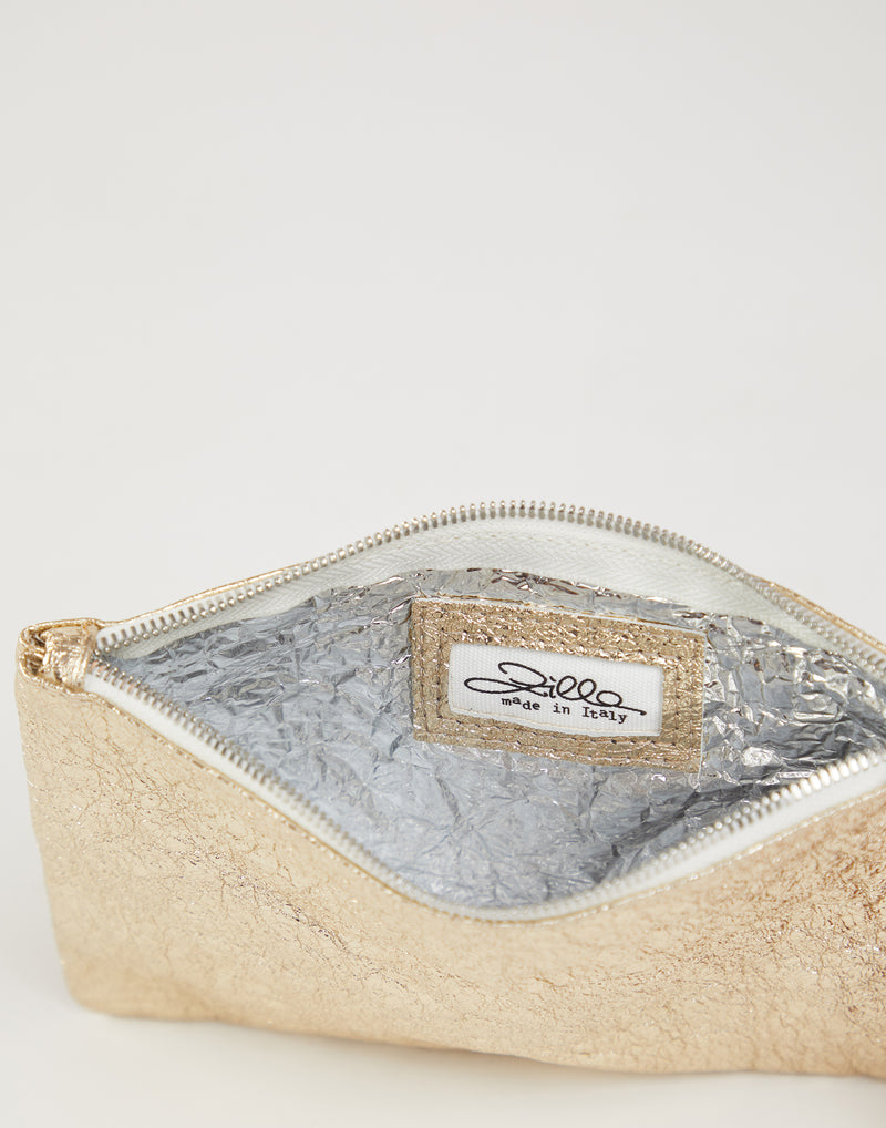 Platinum Laminated Leather Pouch