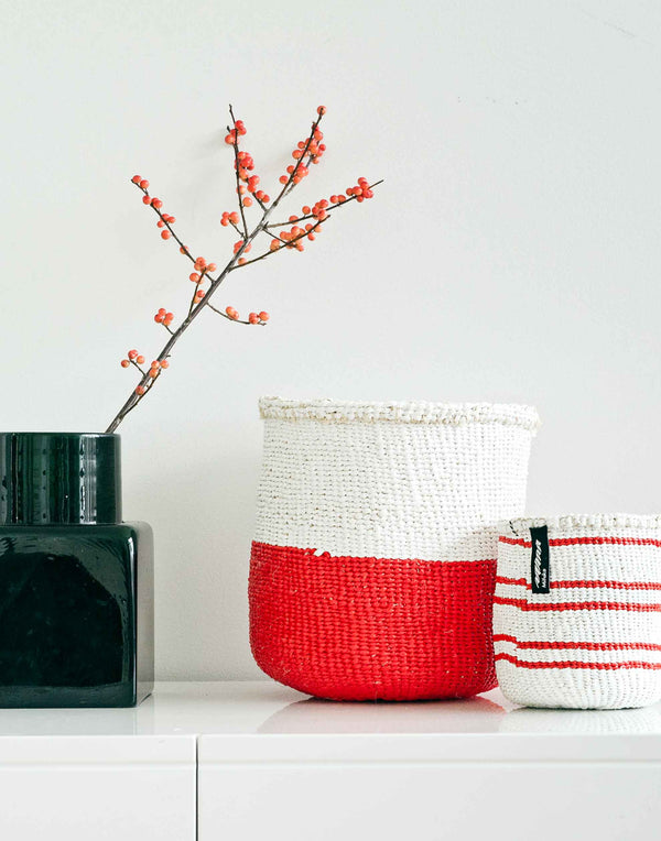 Small Red & White Halves Kiondo Basket