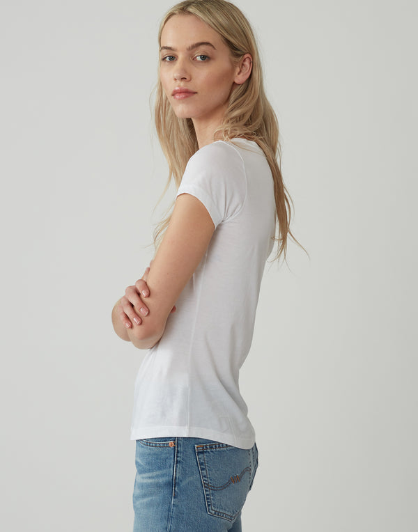 White Cotton Inge Short Sleeve T-Shirt