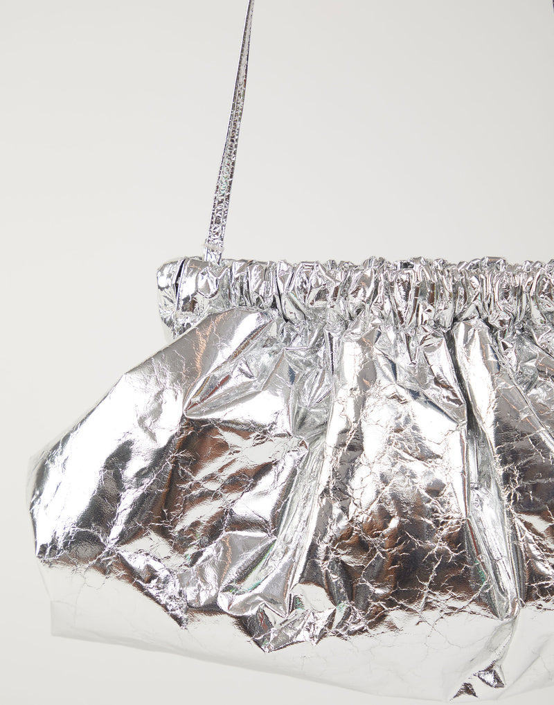 Metallic Silver Crinkled-Leather Pillow Bag