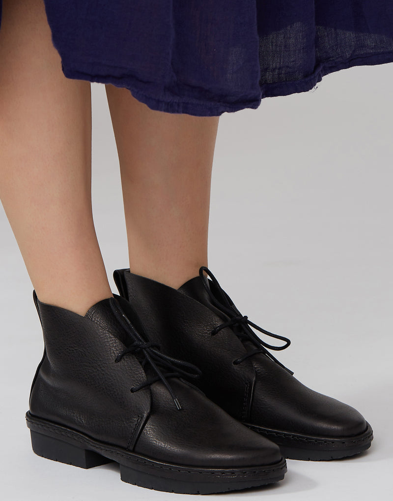 Black Slow Lace Up Leather Boots