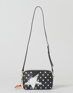 Black & White Polka Dot Leather Star Bag
