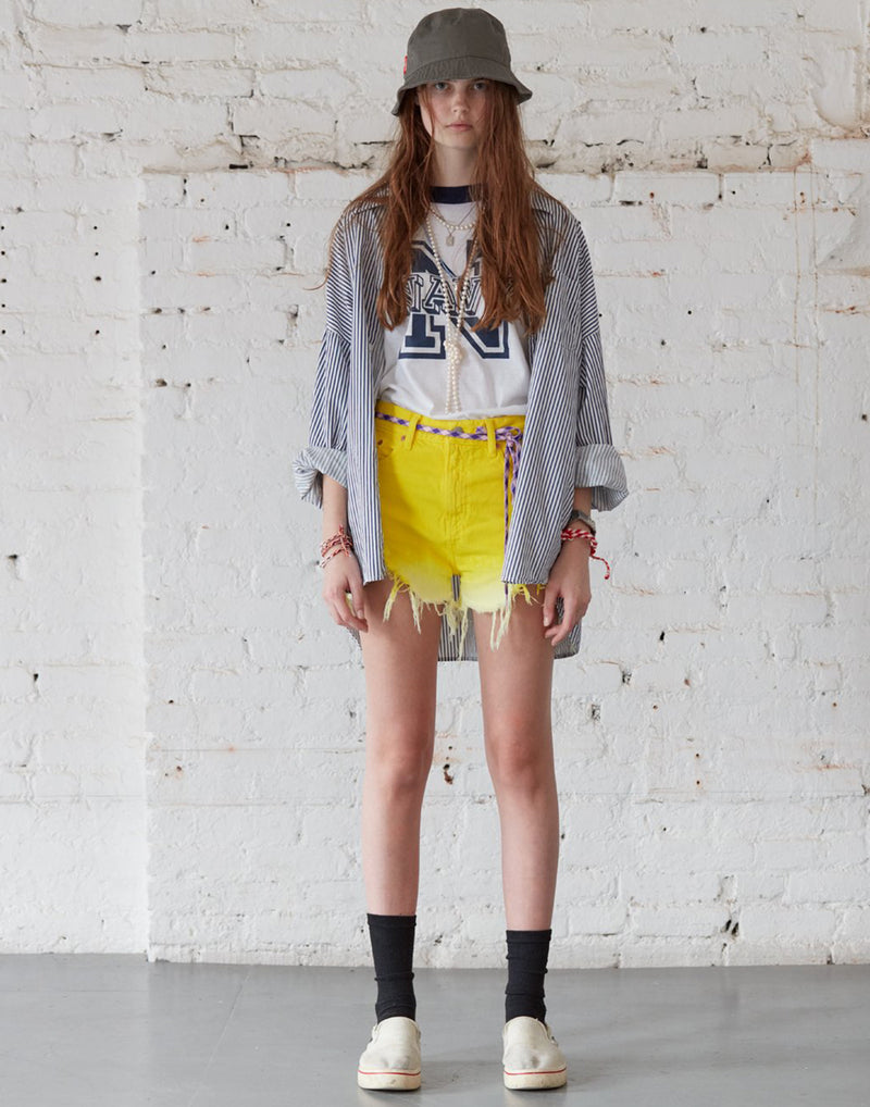 Yellow Dip Dyed High-Rise Cut-Off Shorts