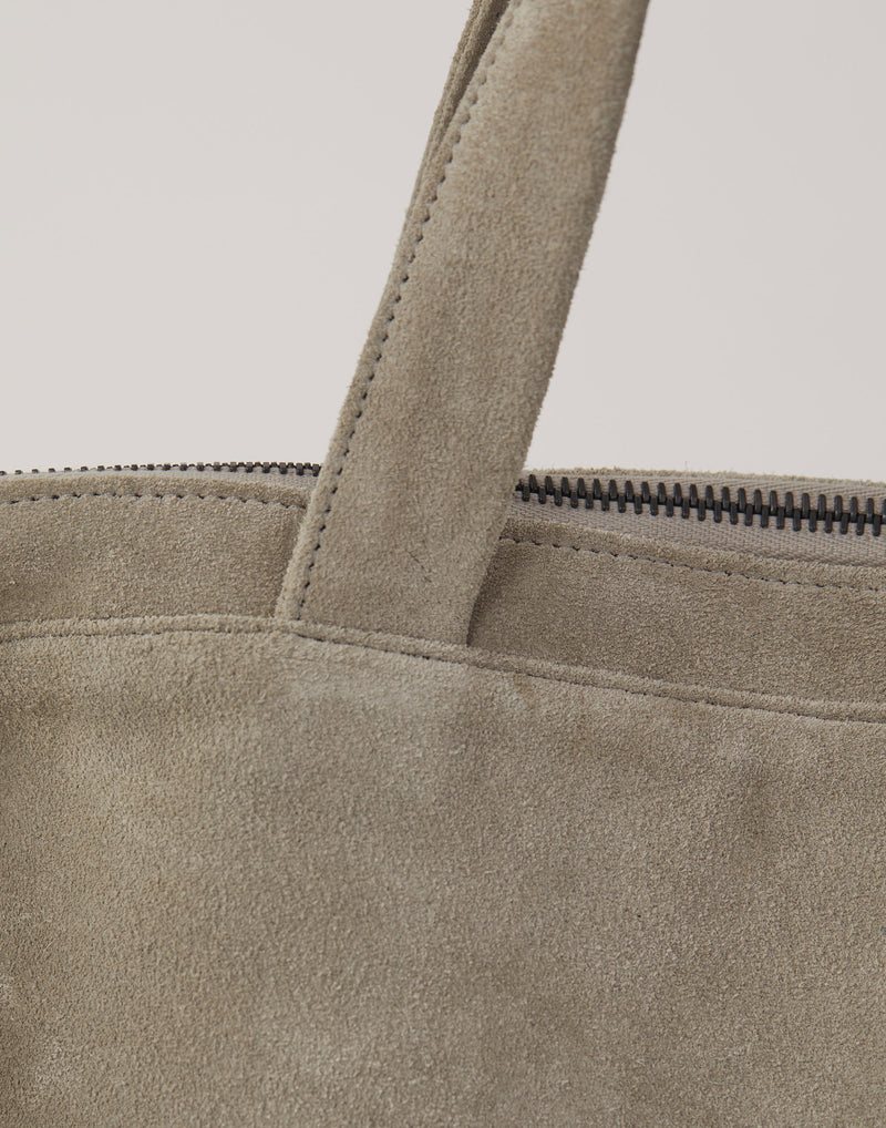 Frosted Grey Suede Leather Pilot Bag