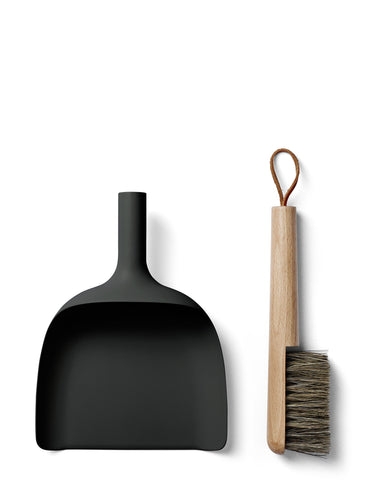 Black Dust Pan and Brush