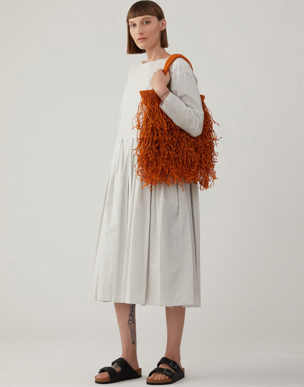 Orange Jute Macramé Fringe Bag